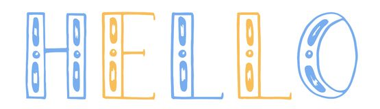 也corel凹道例证向量 颜色手凹道字法 你好 奶油被装载的饼干 蓝色黄色 向量例证