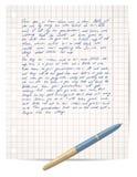 习字簿纸笔脚本 库存例证