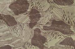 习惯伪装纹理样式,水平的淡绿色的棕褐色的灰褐色褐色构造了camo背景,老年迈的被风化的棉花斜纹布 库存图片