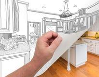 画习惯厨房手转动的页拍摄 图库摄影