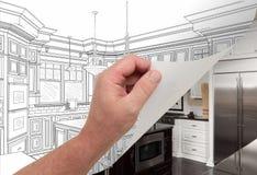 画习惯厨房手转动的页拍摄 库存图片