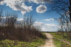乡下公路和多云天空 免版税库存照片