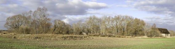 乡下农场的全景 免版税库存照片
