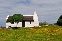 乡下场面:一间白色农舍、绿色草坪和黄色花 库存照片