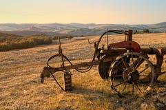 乡下日落美妙的托斯卡纳 免版税库存图片