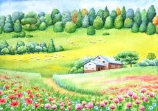 乡下水彩生动的绘画  向量例证