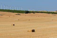 乡下的农田有秸杆大包和风轮机的在背景中 免版税库存图片