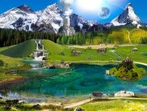 乡下的空中风景 青山和草甸, pa 免版税库存照片