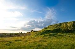 乡下草木茂盛的牧场天空 免版税库存照片