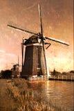 乡下荷兰语明信片风车 库存图片