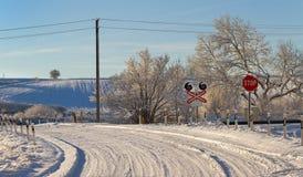 乡下路在一个冬天 免版税图库摄影