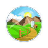 乡下路风景例证 与山、小山和领域的乡区 在农田的自然路 免版税库存照片