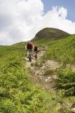 乡下轨道的两个骑自行车者 库存图片