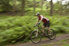 乡下轨道的被弄脏的骑自行车者 免版税库存照片