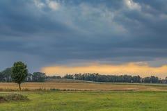 乡下风景在一个风雨如磐的夏天晚上 免版税库存照片