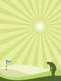乡下高尔夫球运动员纵向剪影 免版税库存图片