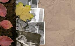 乡情概念 回忆录 与空白页的闭合的葡萄酒象册书与拷贝空间 免版税图库摄影