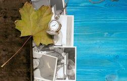 乡情概念 回忆录 葡萄酒与空白页的象册书与拷贝空间 免版税图库摄影