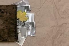 乡情概念 回忆录 葡萄酒与空白页的象册书与拷贝空间 免版税库存图片