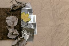 乡情概念 回忆录 葡萄酒与空白页的象册书与拷贝空间 库存图片