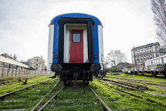 乡愁火车停放了在访客的Haydarpasa驻地,伊斯坦布尔,土耳其 3月` 2017年 库存照片