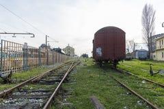 乡愁火车停放了在访客的Haydarpasa驻地,伊斯坦布尔,土耳其 3月` 2017年 图库摄影
