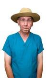 乡村医生滑稽的幽默查出的白色 免版税库存照片
