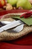 乡村模式的土气感恩桌设置 免版税图库摄影