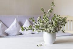 乡村模式的客厅 在白色罐的樱桃花在木桌上 仍然1寿命 免版税库存图片