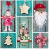 乡村模式:圣诞节装饰以经典颜色绿色和 库存图片