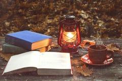 书、灯和一个杯子热的咖啡在森林下落的黄色槭树叶子的老木桌上 库存图片