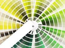 书五颜六色的绿色遮蔽样片 免版税库存图片