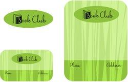读书俱乐部,学习中心学校教育商标,名片2 x 3 5,飞行物4 25 x 5 5 免版税图库摄影