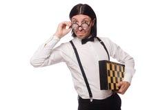 书呆子下象棋者被隔绝 库存照片