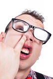 书呆子人采摘鼻子 免版税库存图片