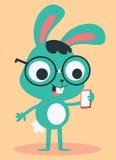 书呆子兔宝宝佩带的玻璃谈话在电话 免版税库存图片