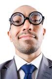 书呆子滑稽的生意人 免版税库存照片