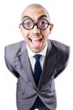 书呆子滑稽的生意人 免版税库存图片