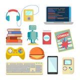 书呆子项目被设置的传染媒介 怪杰辅助部件 耳机,球员,膝上型计算机,机器人,玩具,电话,键盘, Tetris,漫画,苏打 皇族释放例证