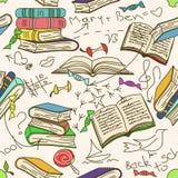 书和孩子的乱画无缝的样式 免版税库存图片