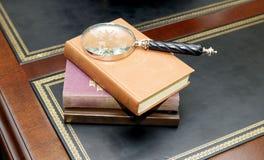 书和放大镜 免版税库存照片