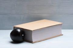 书和苹果在葡萄酒背景 库存图片