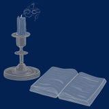 书和蜡烛 免版税库存照片
