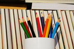 书和铅笔,教育概念 库存图片