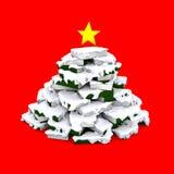 书圣诞树与雪的 库存图片