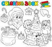 书圣诞节着色主题 免版税库存照片