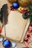 书圣诞节葡萄酒 免版税库存图片
