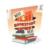 书堆与最佳的书店文本的 免版税图库摄影