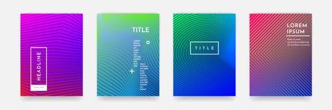书套模板传染媒介集合的抽象梯度颜色样式纹理 库存例证