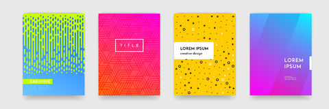 书套模板传染媒介集合的颜色梯度摘要几何样式纹理
